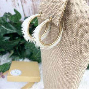 Ivory Spiked Feather Hoop Earrings NWT in Gift Box
